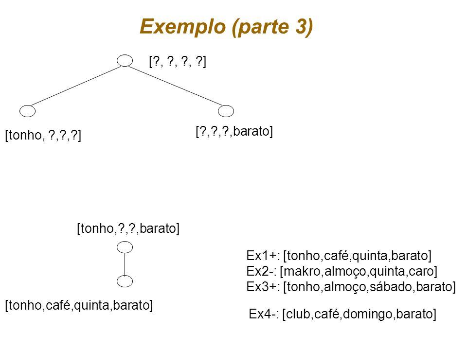 Exemplo (parte 3) [ , , , ] [ , , ,barato] [tonho, , , ]